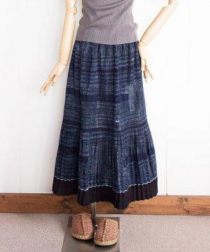 モン族藍染めバティック・ロングスカート(3)