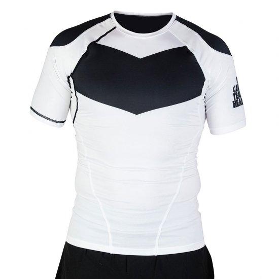 Short Sleeve Supreme Ranked Rash Guard II〈Black on White〉