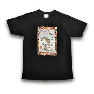 《web限定》【送料無料】yoshikitty:Tシャツ・ブラック・2020・桜・レディースL