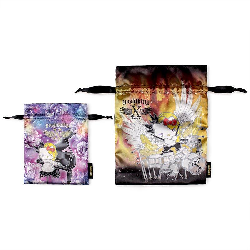 yoshikitty:巾着2枚セット 薔薇&炎