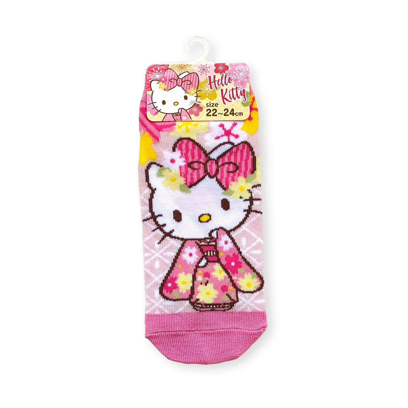 ハローキティ和桜靴下・ピンク