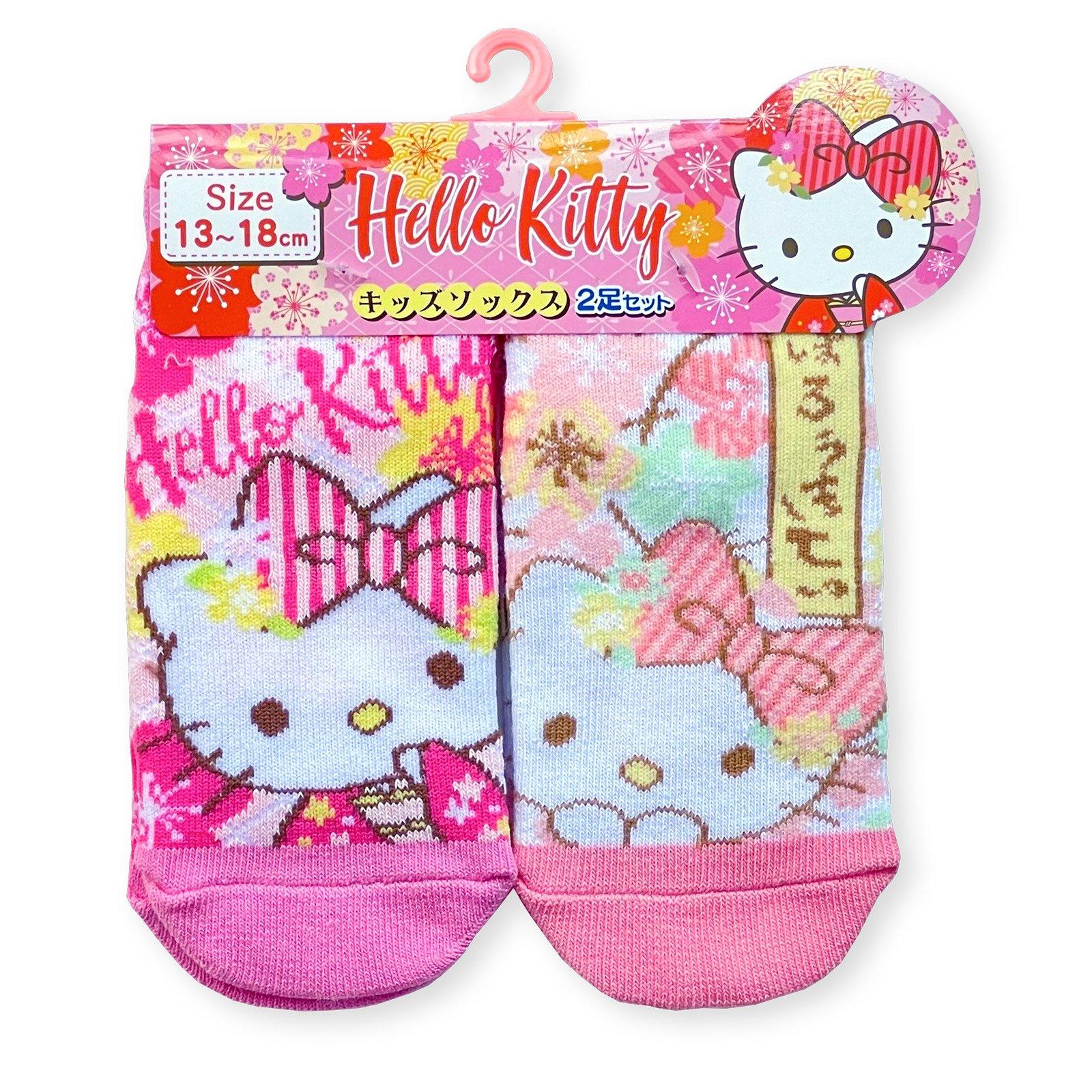 ハローキティ和桜靴下・キッズ2P