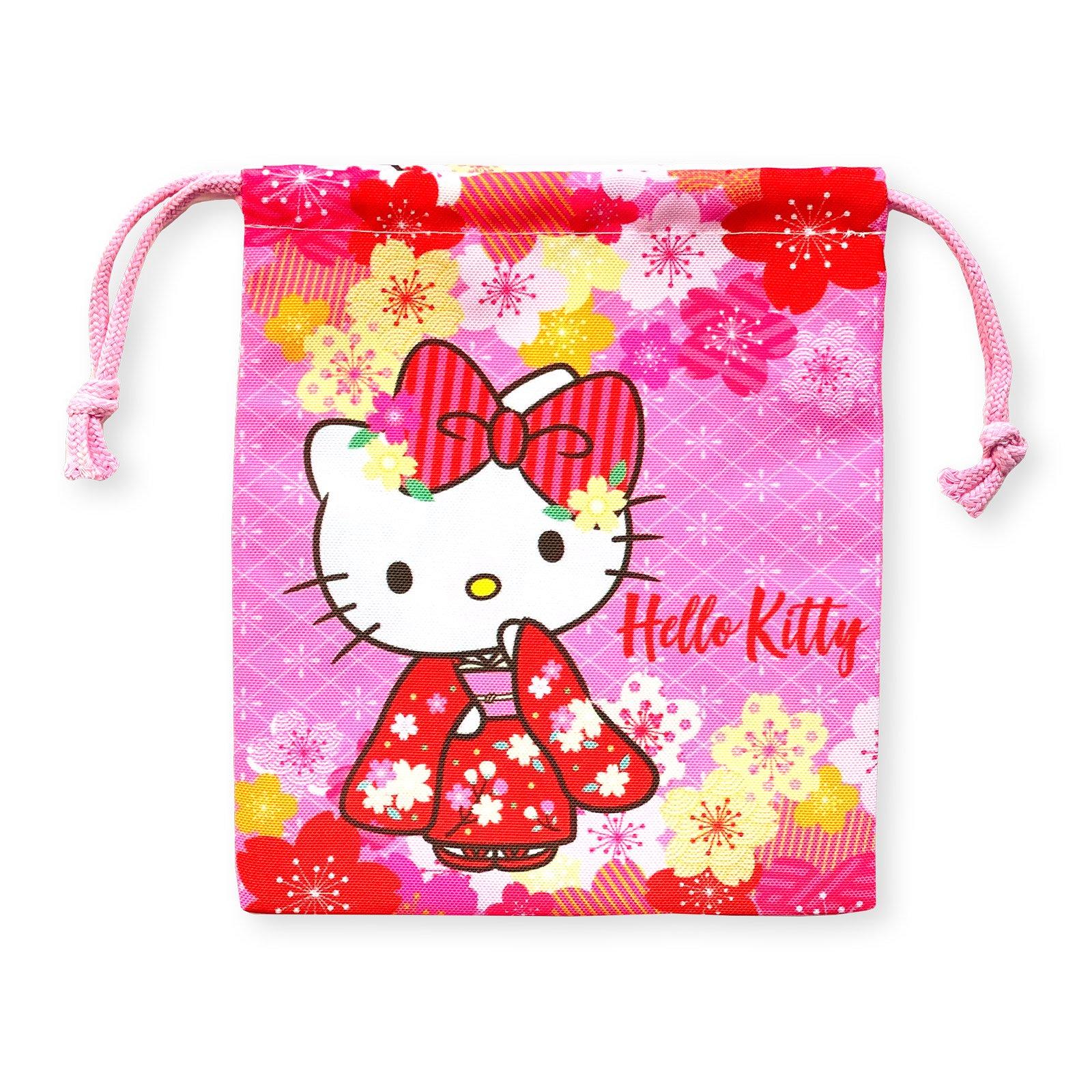 ハローキティ和桜巾着・桜の花輪