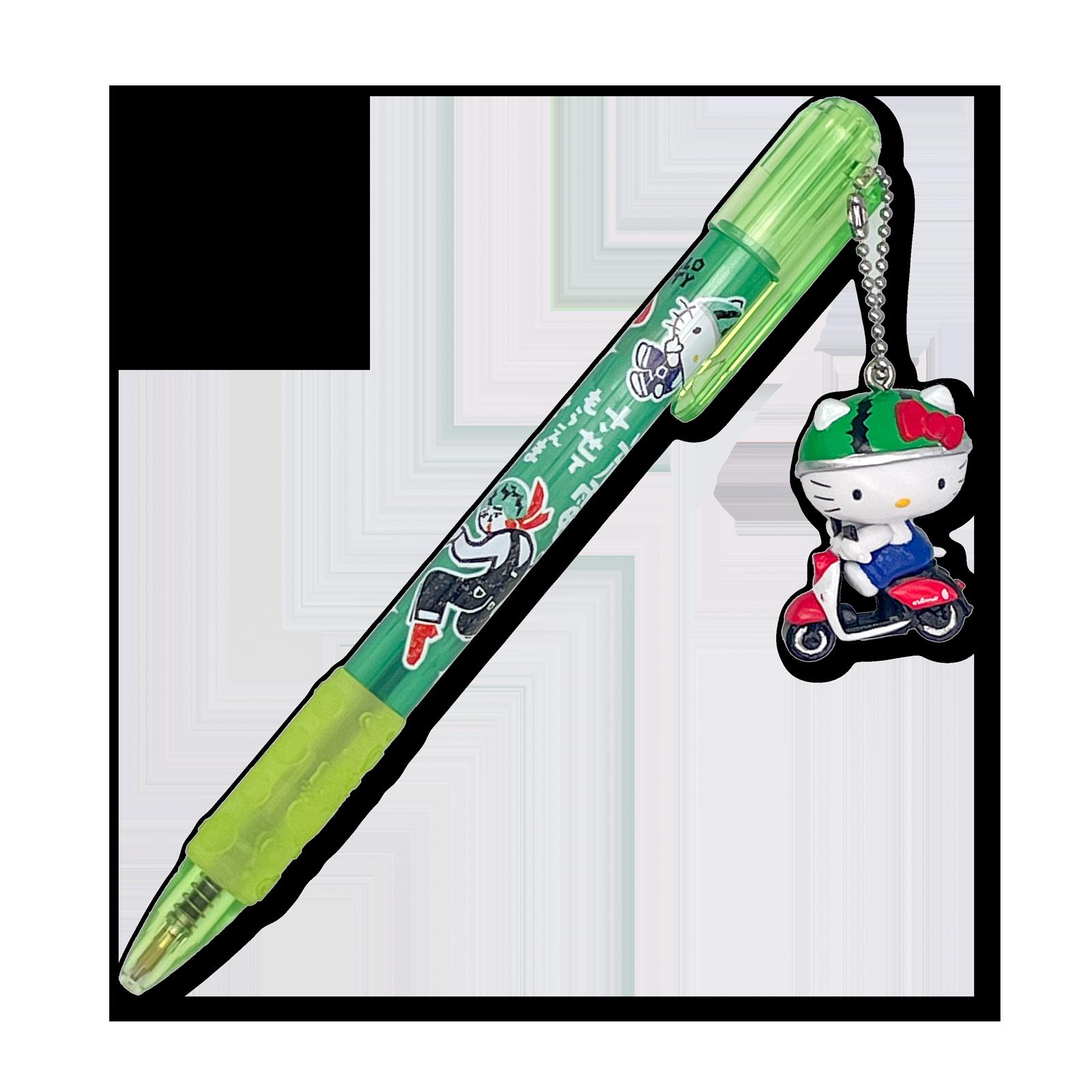 充電×ハローキティ  マスコット付きボールペン・グリーン