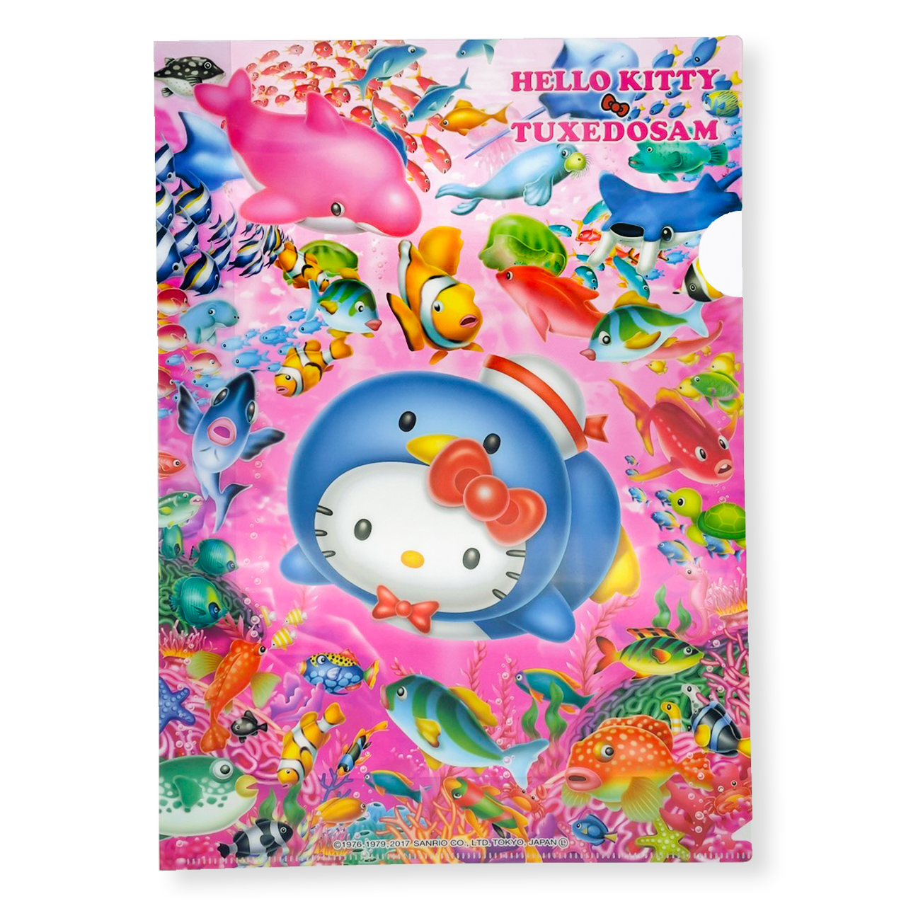 タキタキシードサムXハローキティ A4クリアファイル イルカ・ピンク