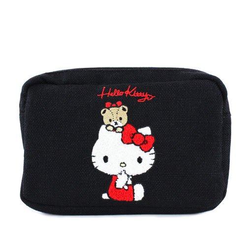 サガラ刺繍ポーチ ハローキティBLACK バッグインバッグ
