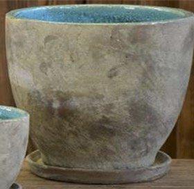 陶器 ベージュ&ブルー