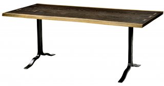 SIVA DINING TABLE SEARED OAK BK LEG