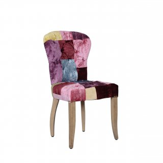CHESTER CHAIR WEATHERED OAK LEG VELVET PATCHWORK BOHEME