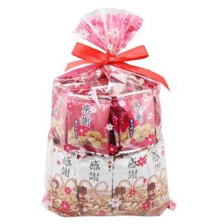 おかしのマーチ 感謝せんべい(30コ)&感謝柿ピー(30コ)花柄ラッピング セット (omtma0856)