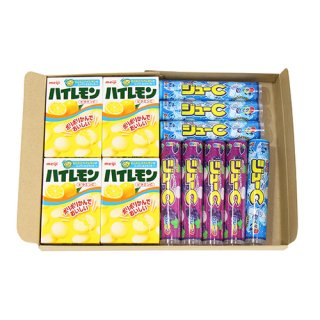 (全国送料無料) おかしのマーチ ハイレモン 18粒(4コ)& ジューC(2種・各4コ) セット メール便 (omtmb5590)
