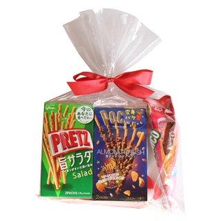 (地域限定送料無料) グリコ スティック菓子 ポッキー&プリッツ(5種・計5コ)食べ比べセット ラッピングver プチギフト クール便 (omtma7070kk)