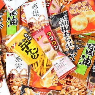 (地域限定送料無料) 小袋せんべい・おつまみ菓子バラエティセット (6種・計108コ) A おかしのマーチ (omtma7116k)