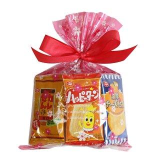花柄袋 アジカル 亀田のミニせんべい袋詰め 詰め合わせ 駄菓子 おかしのマーチ (omtma7125)