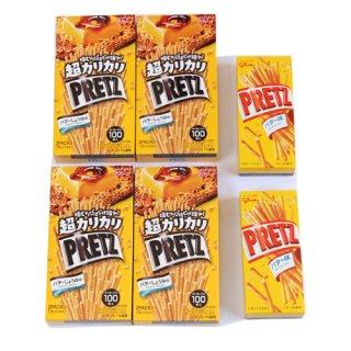 (全国送料無料)グリコ超カリカリプリッツ<バターしょうゆ味>【4コ】《プリッツバター味25g 2コおまけ付き》おかしのマーチ メール便(omtmb7077)