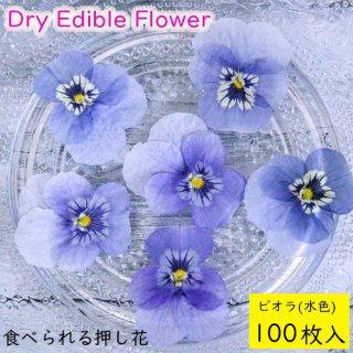 (全国送料無料)食べられる押し花 ドライエディブルフラワー  ビオラ(水色) 100枚入り 食用花 ドライフラワー  メール便(omtmb7235)