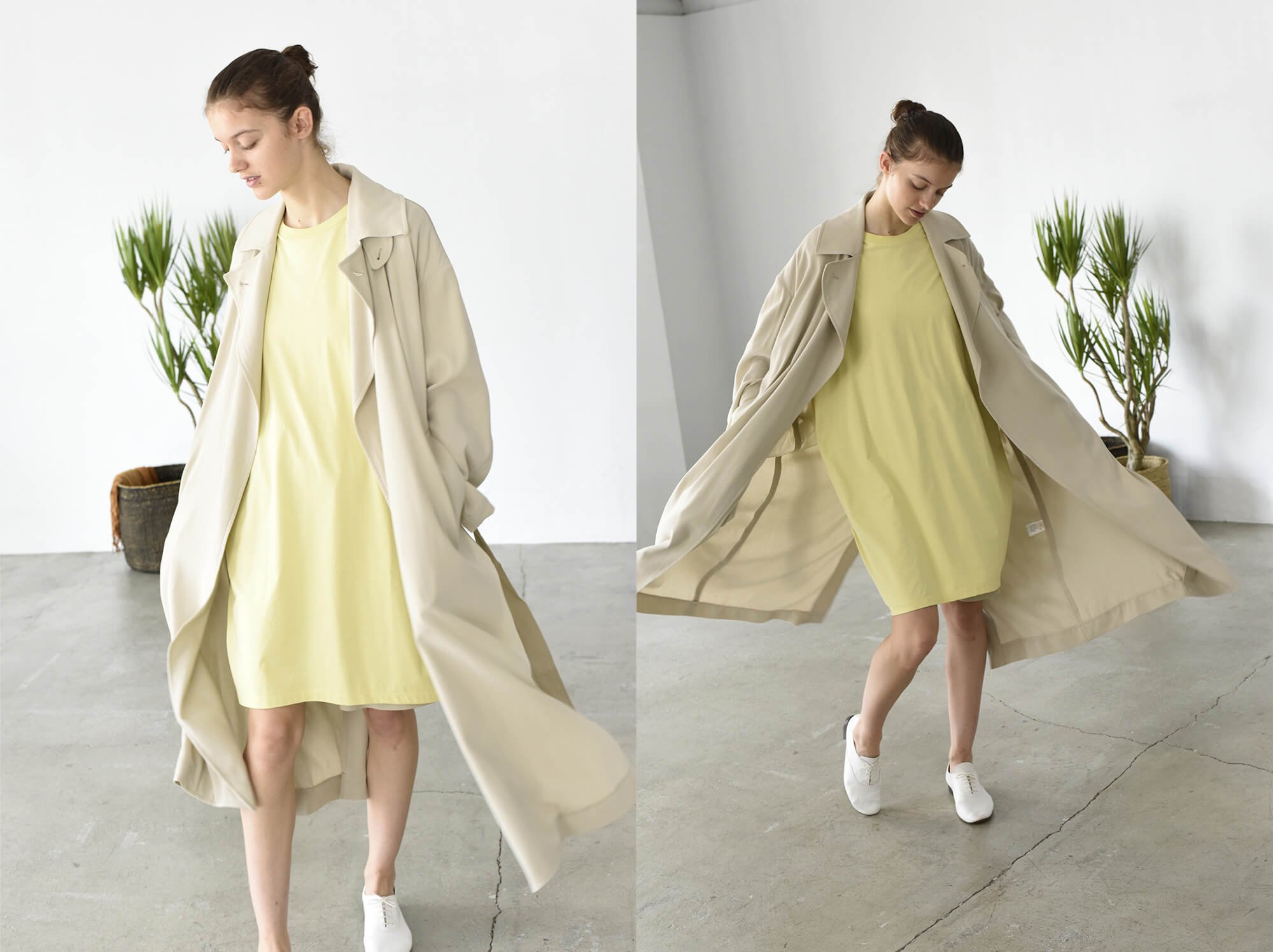 cotton double-crepe trench coat