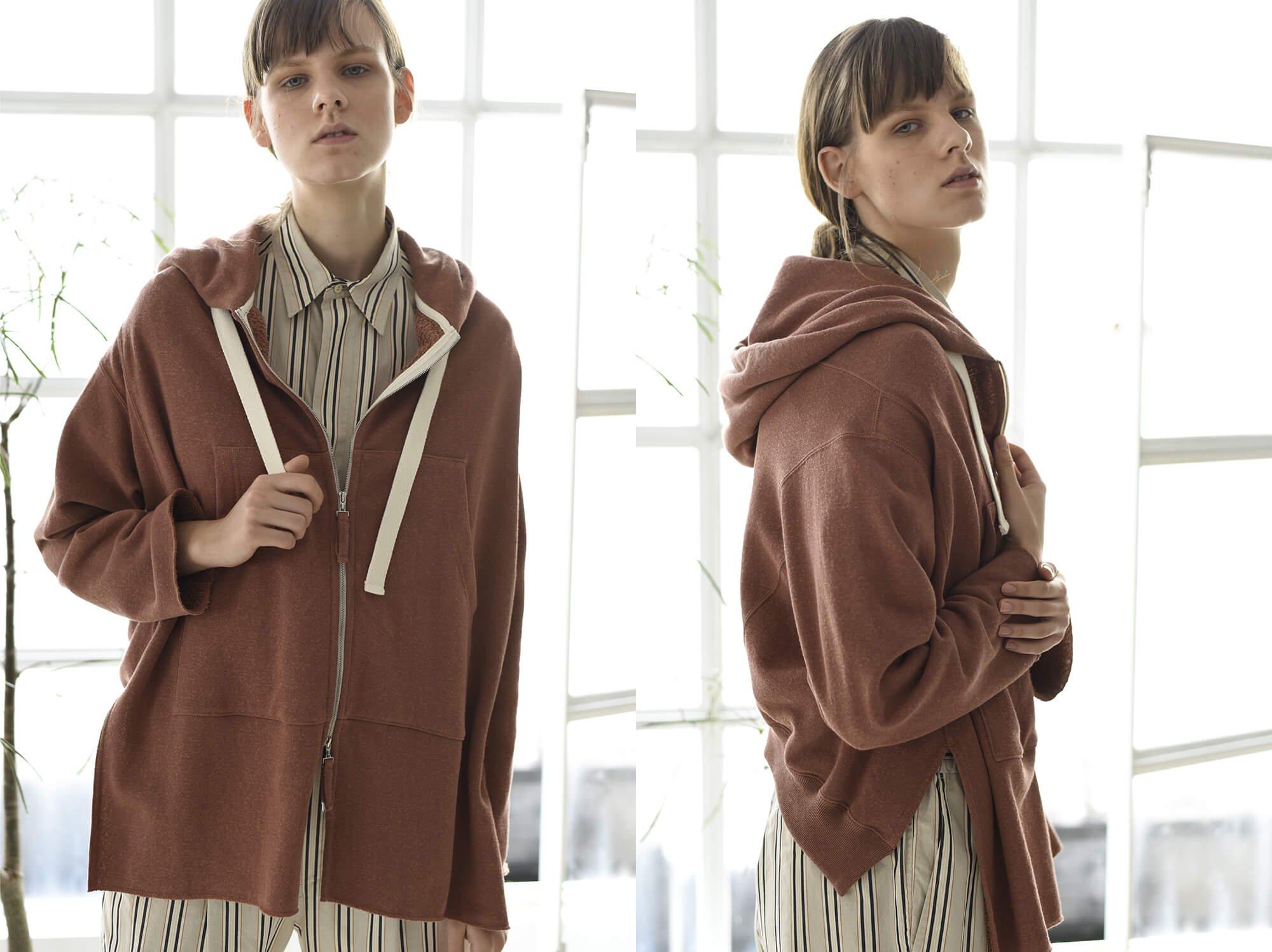 paper&cotton-terry zip hoodie