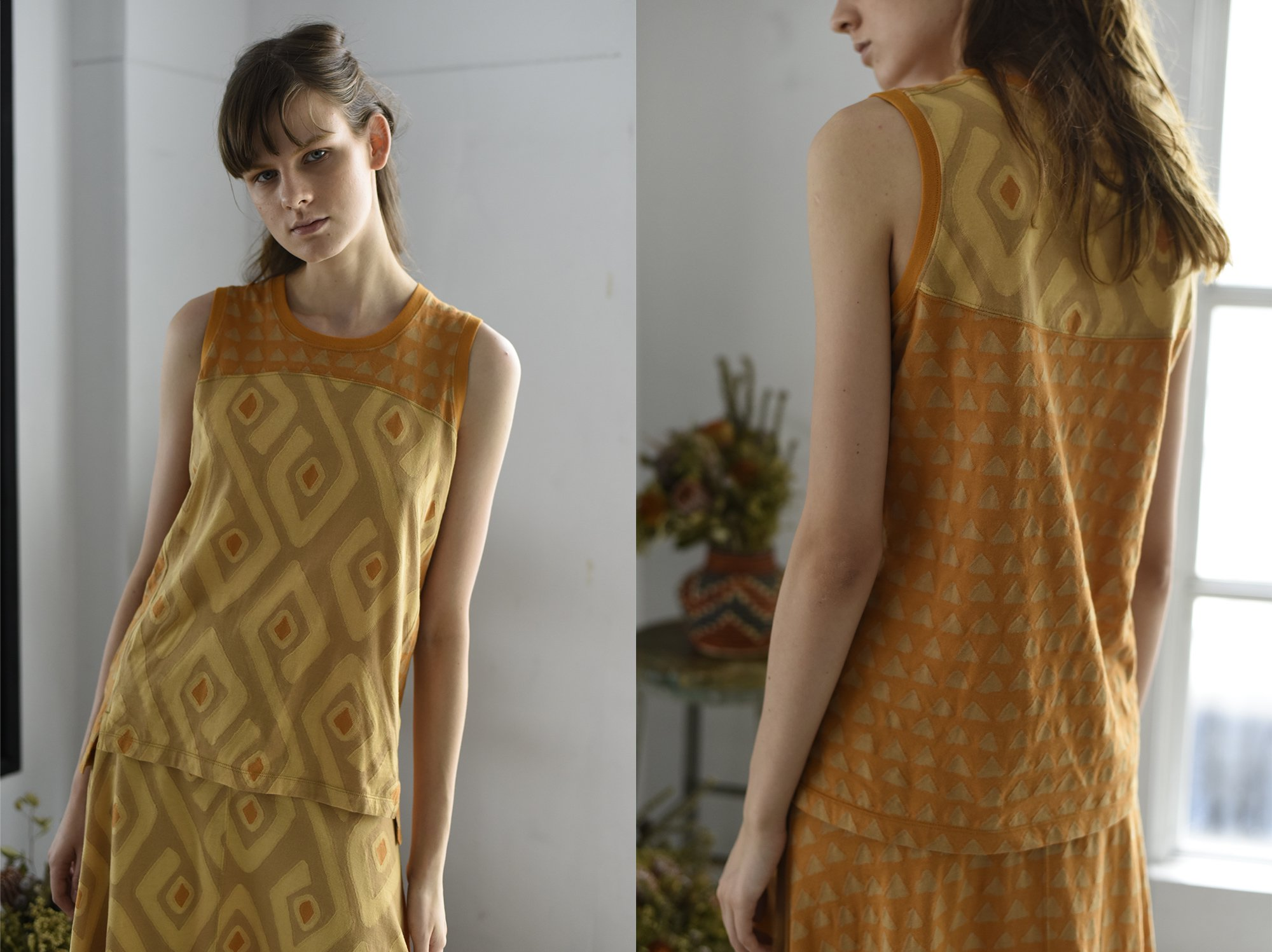 intarsia jacquard jersey sleeveless top