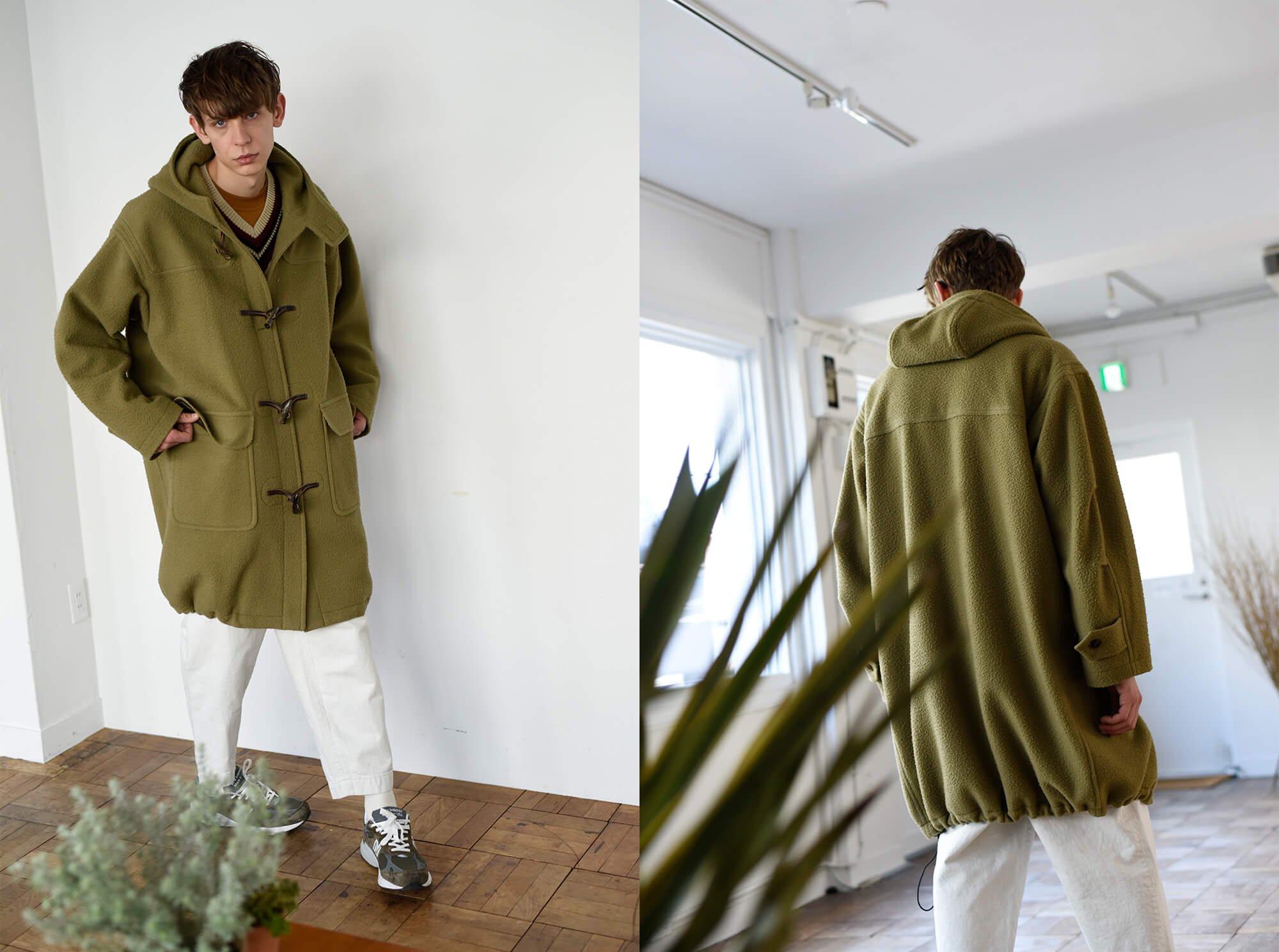 napped wool-melton duffel coat