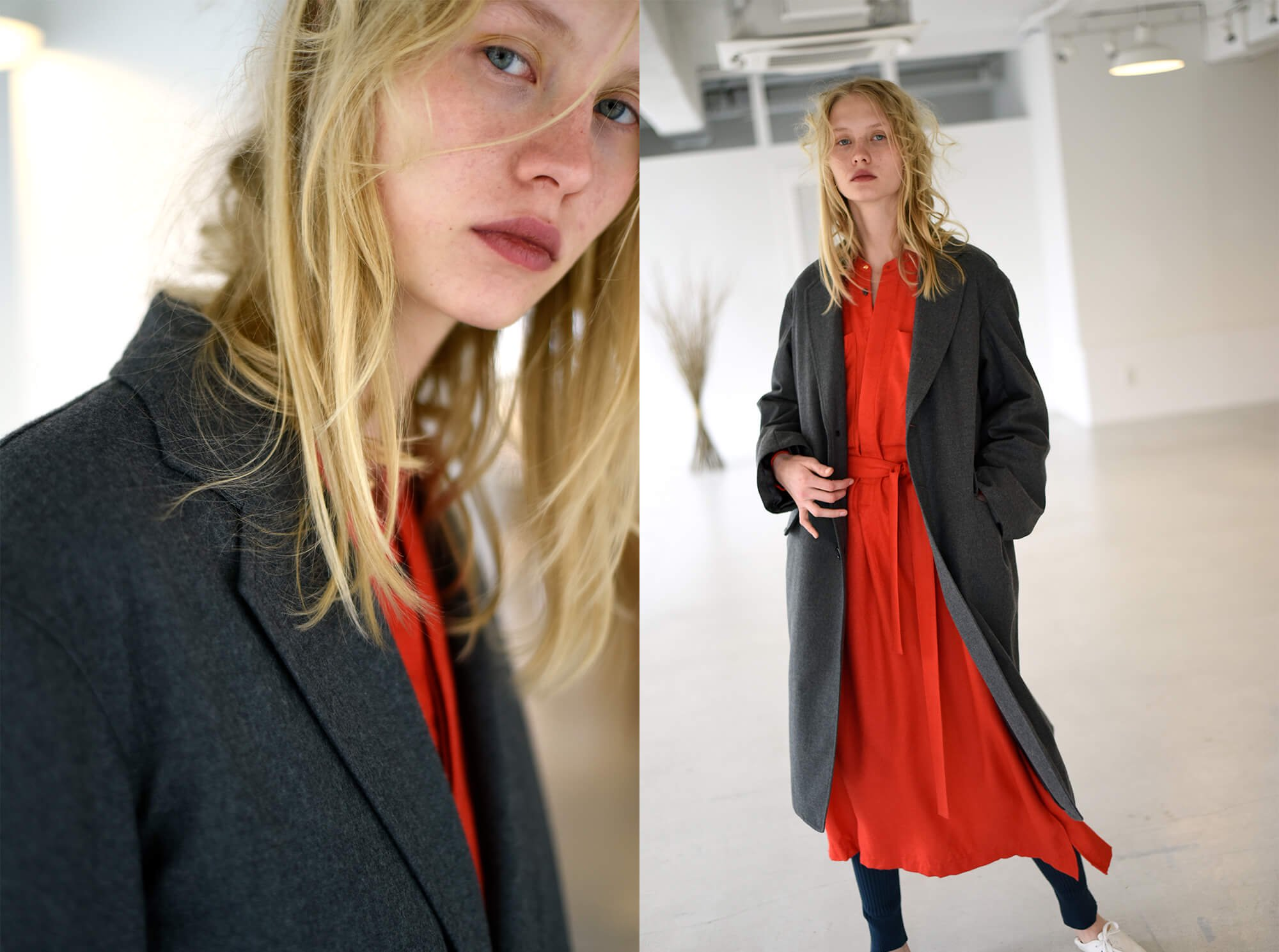 wool-flannel padded chester coat