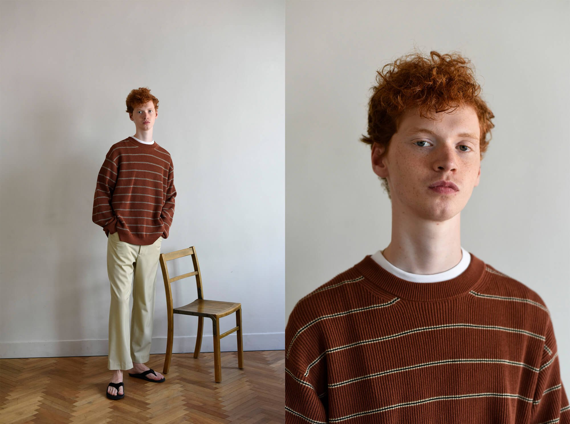 open-end spun cotton striped pullover