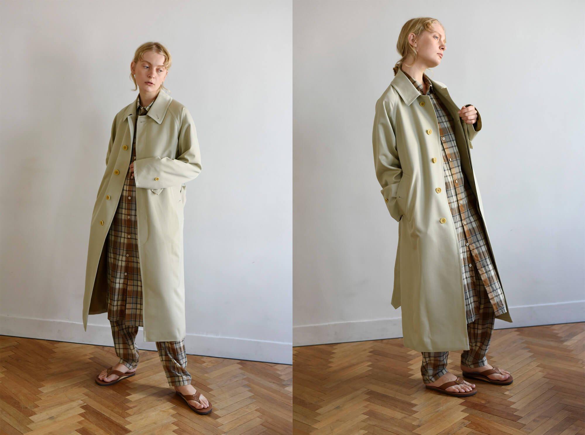 wool gabardine balmacaan coat