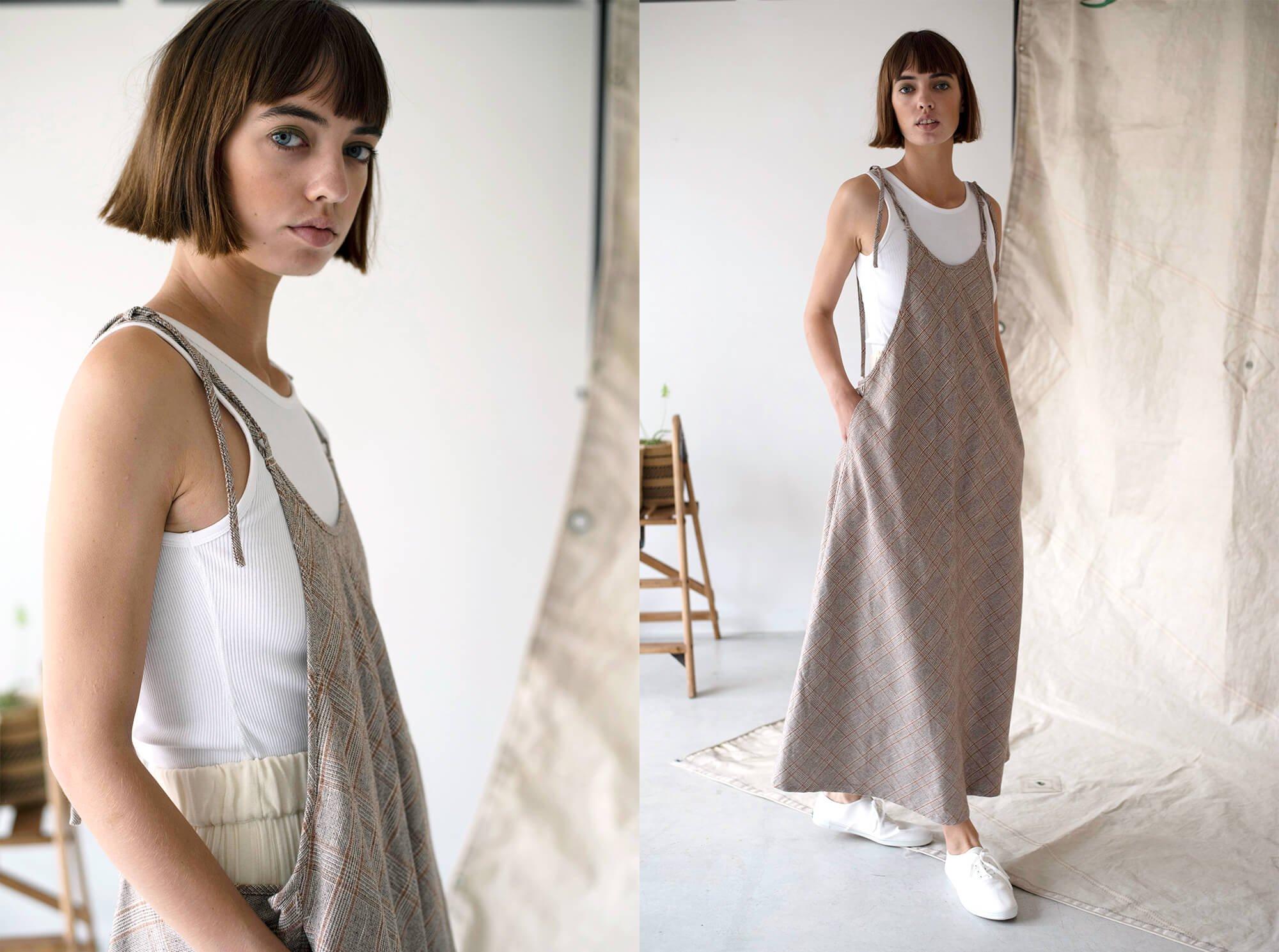 glen checked-tweed apron dress