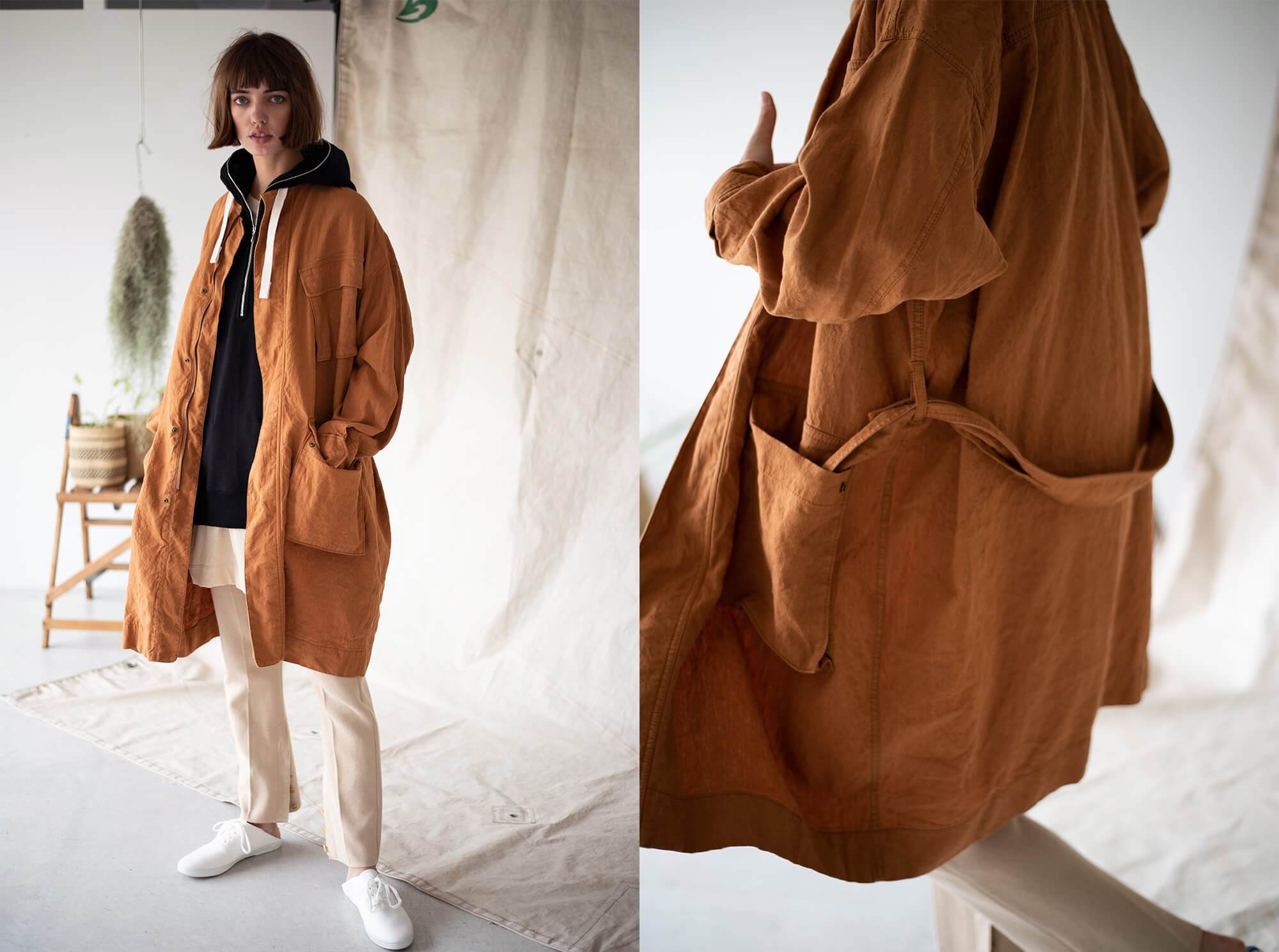 paper & linen-cloth military coat