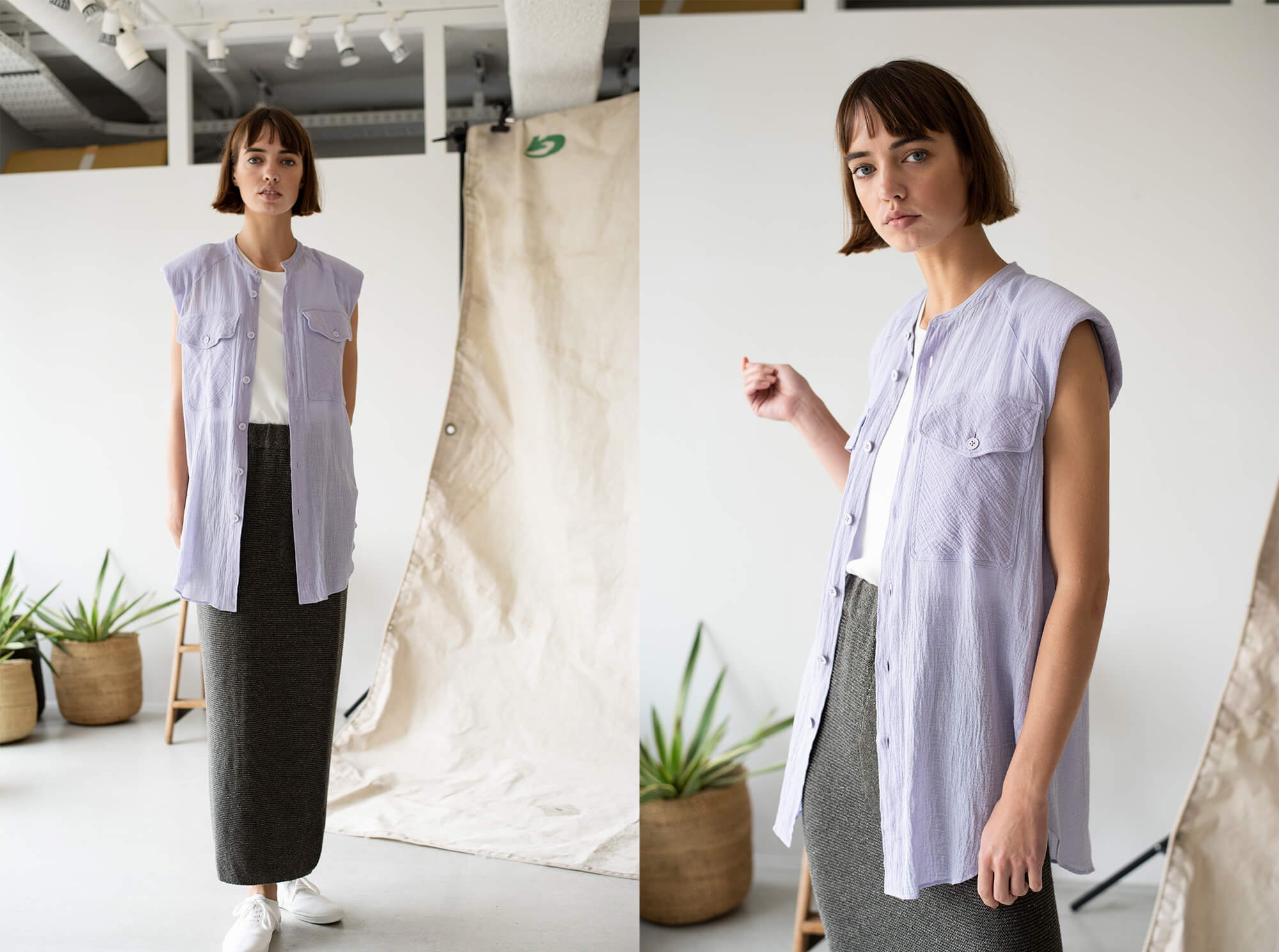 cotton & linen-georgetto  padded shoulder shirt