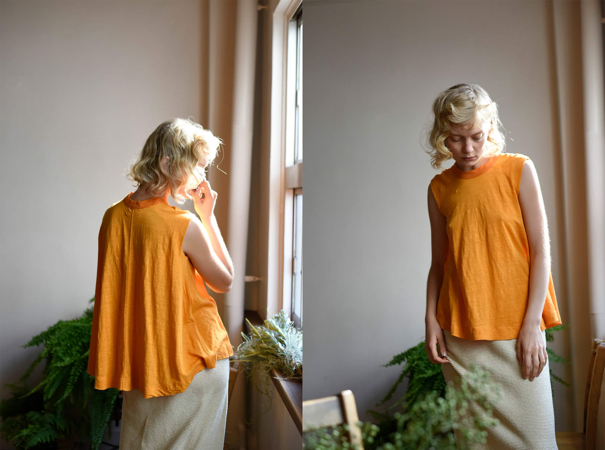 french linen jersey sleeveless A-line top