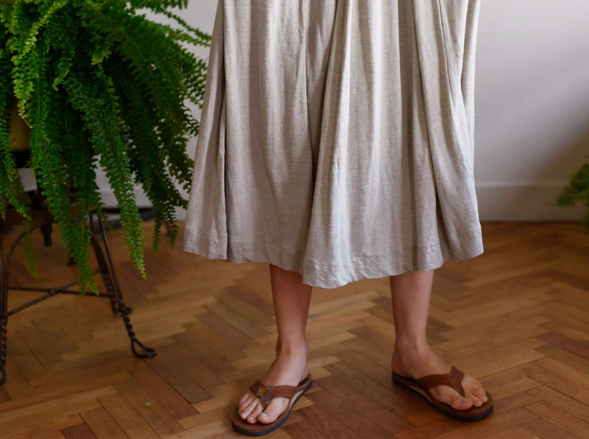 french linen jersey flared skirt