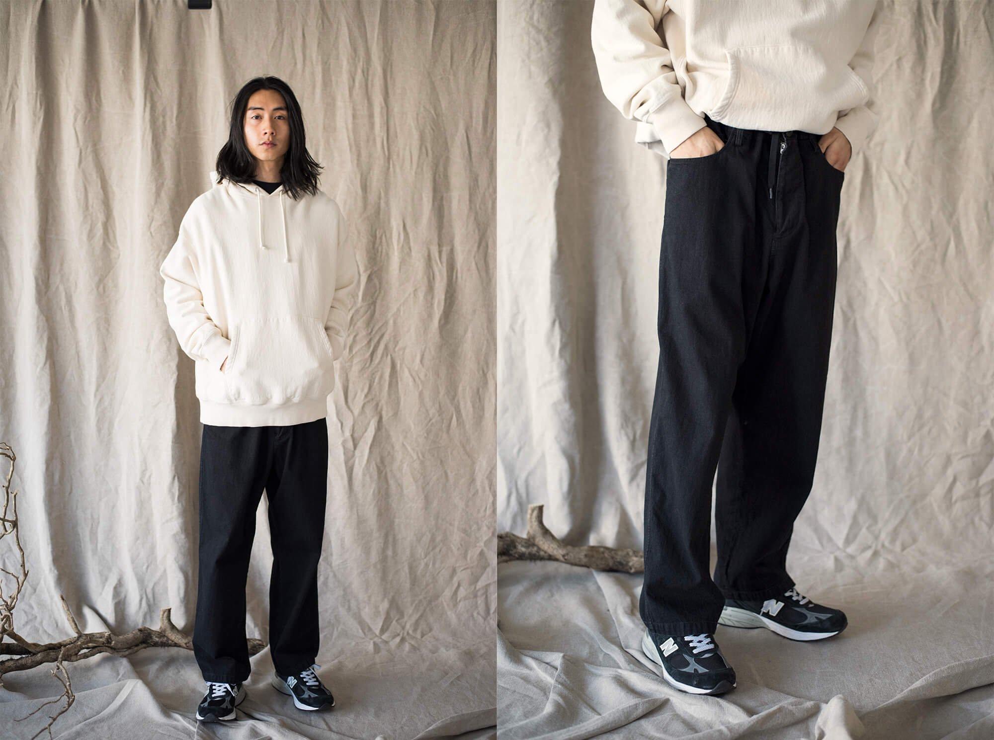7.5oz organic cotton-denim drawstring 5 pocket baggy pants