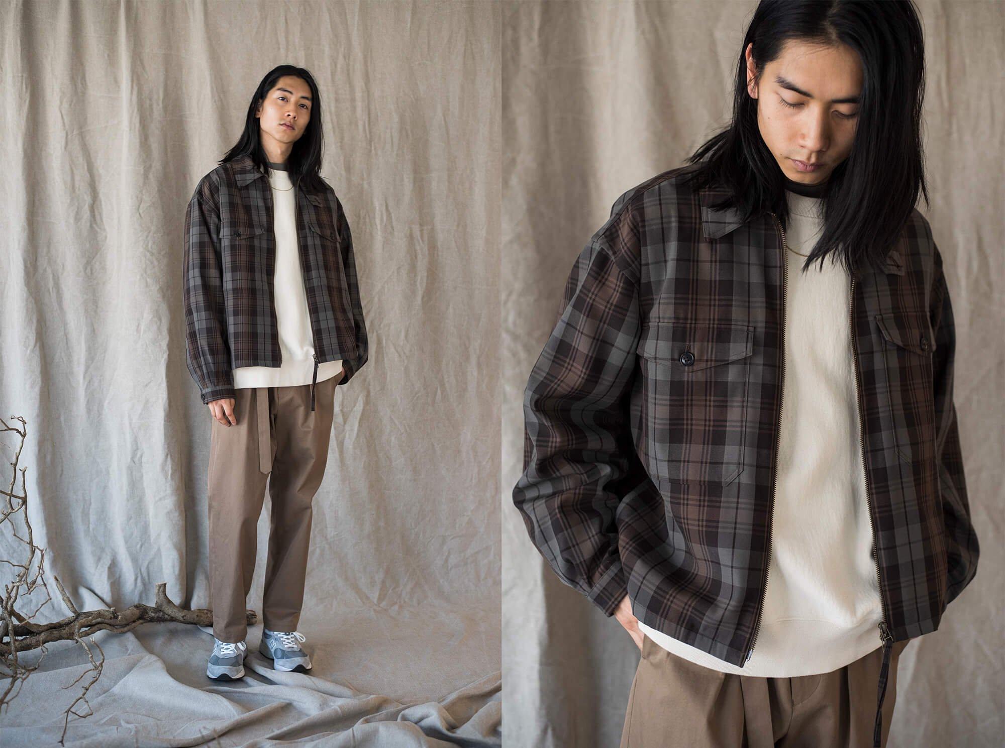 plaid wool gabardine full zip overshirt