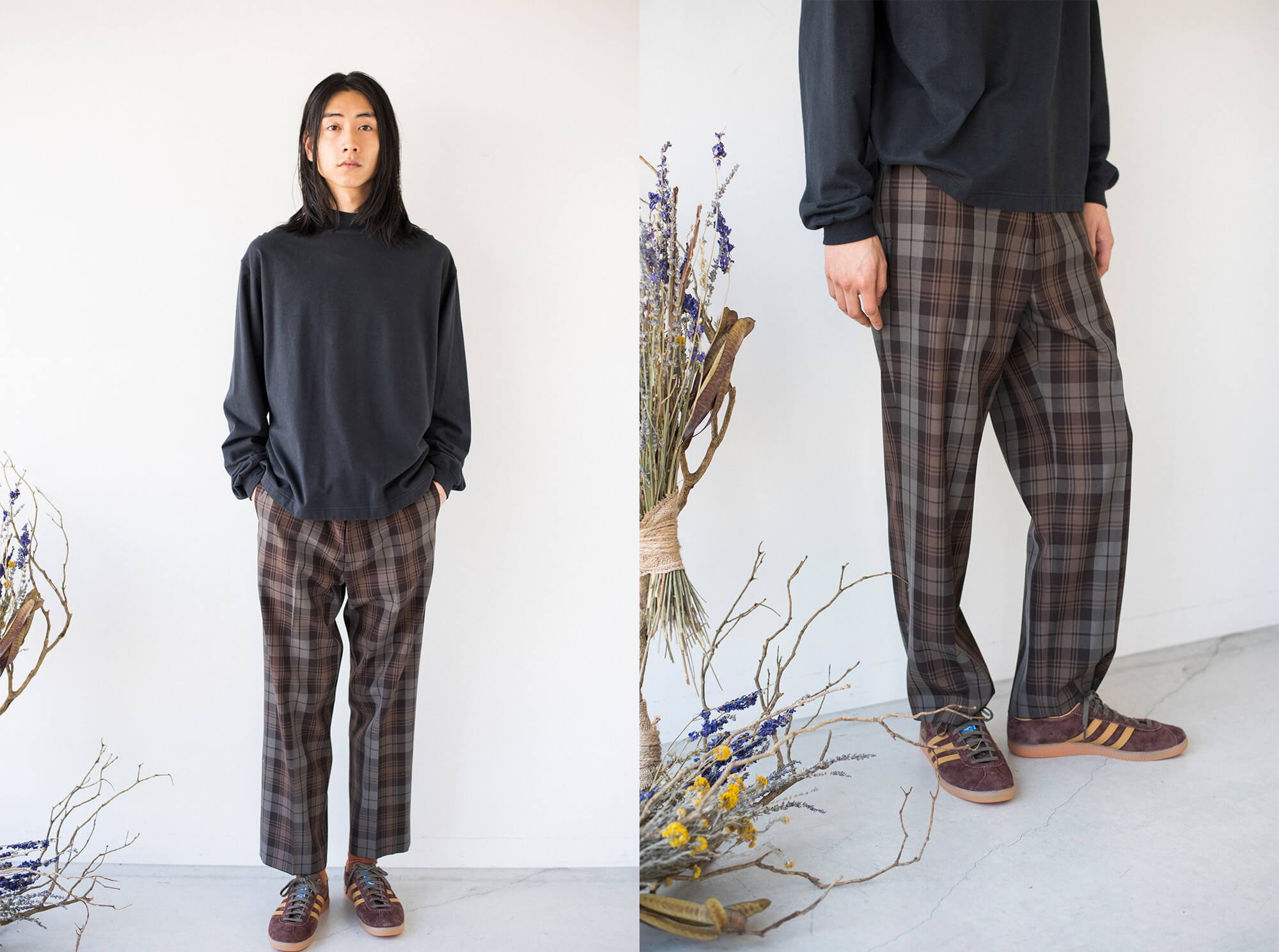 plaid wool gabardine trousers