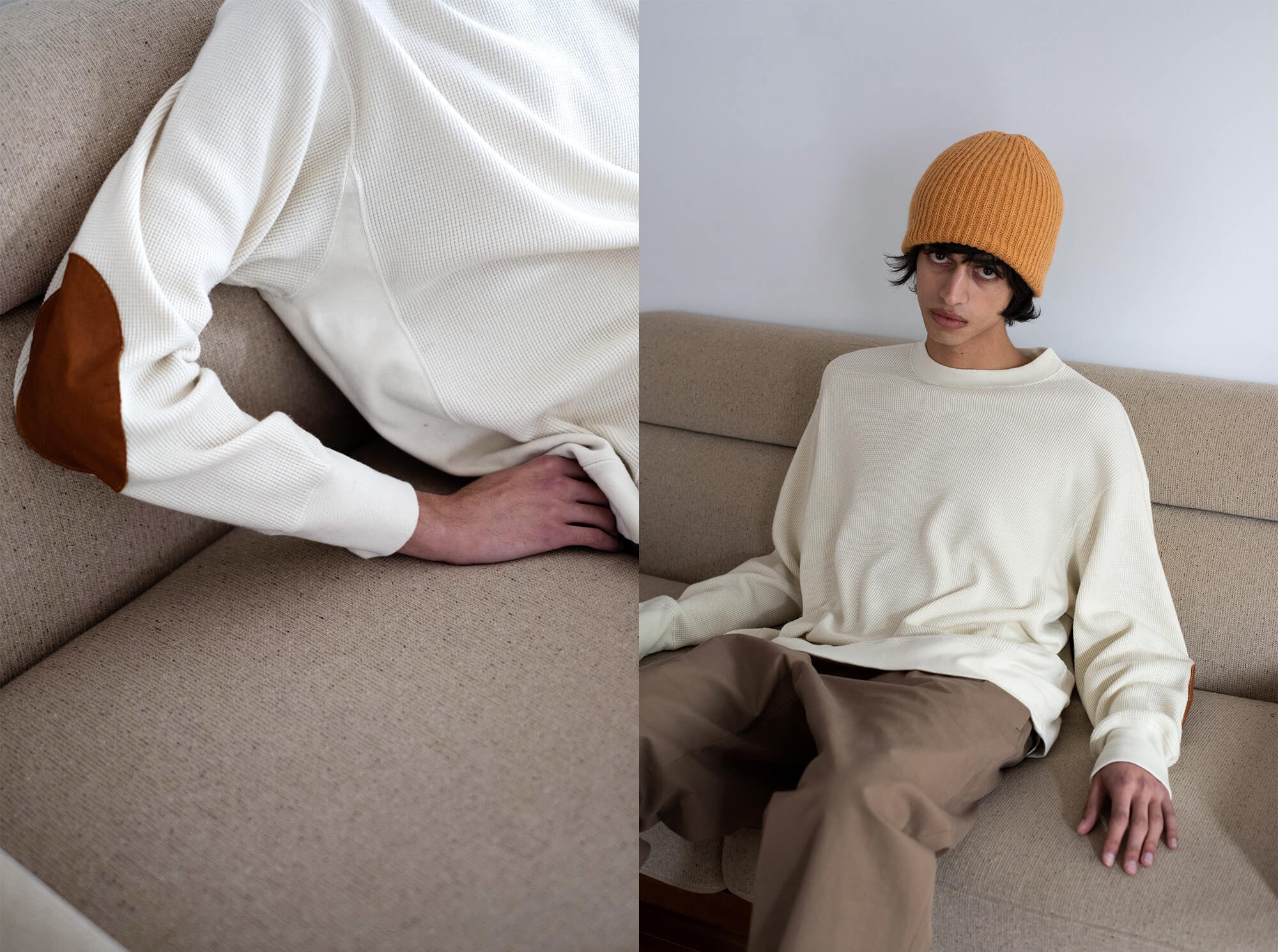 wool & cotton waffle pullover