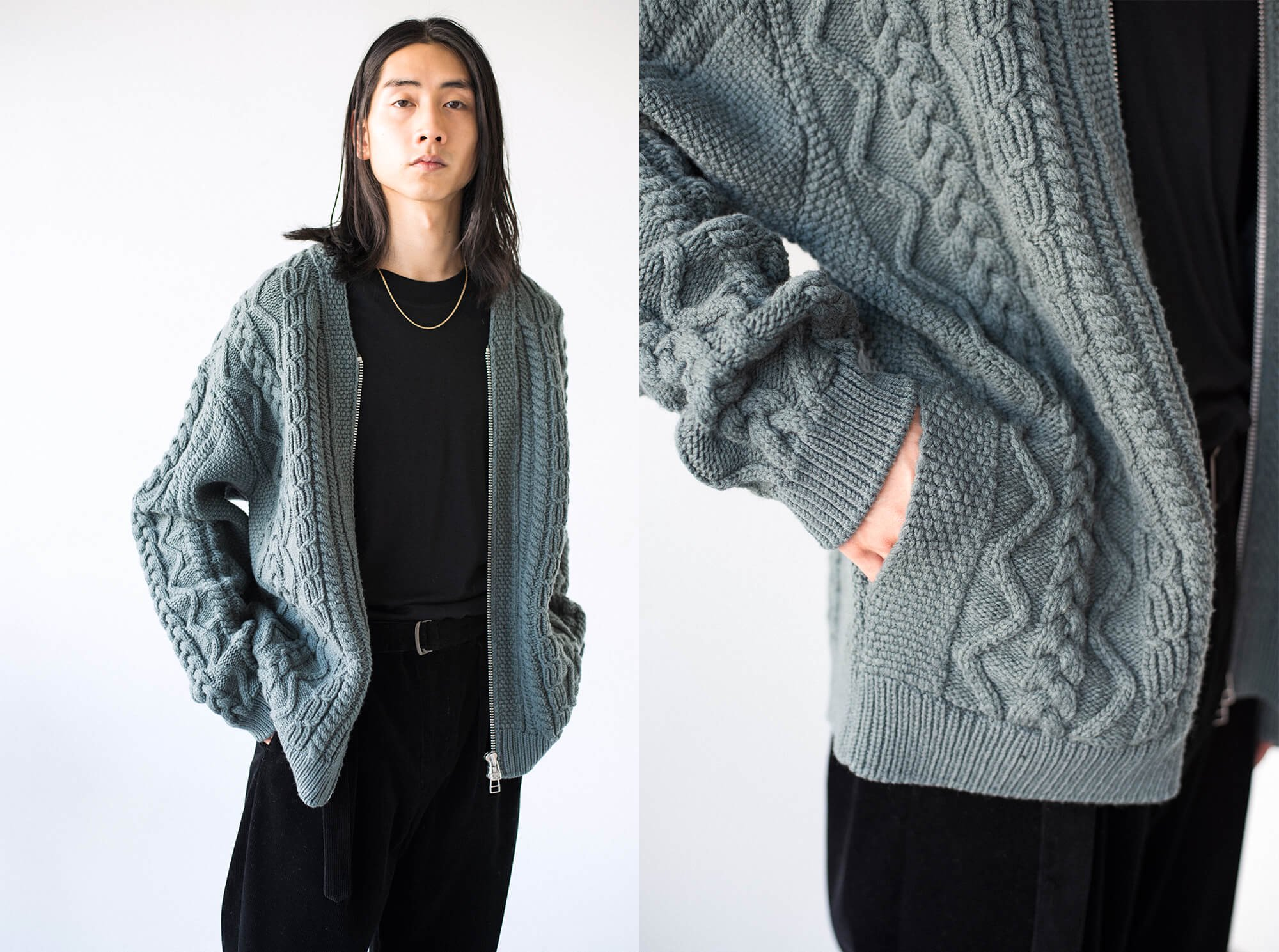 french merino cable-knit zip up cardigan