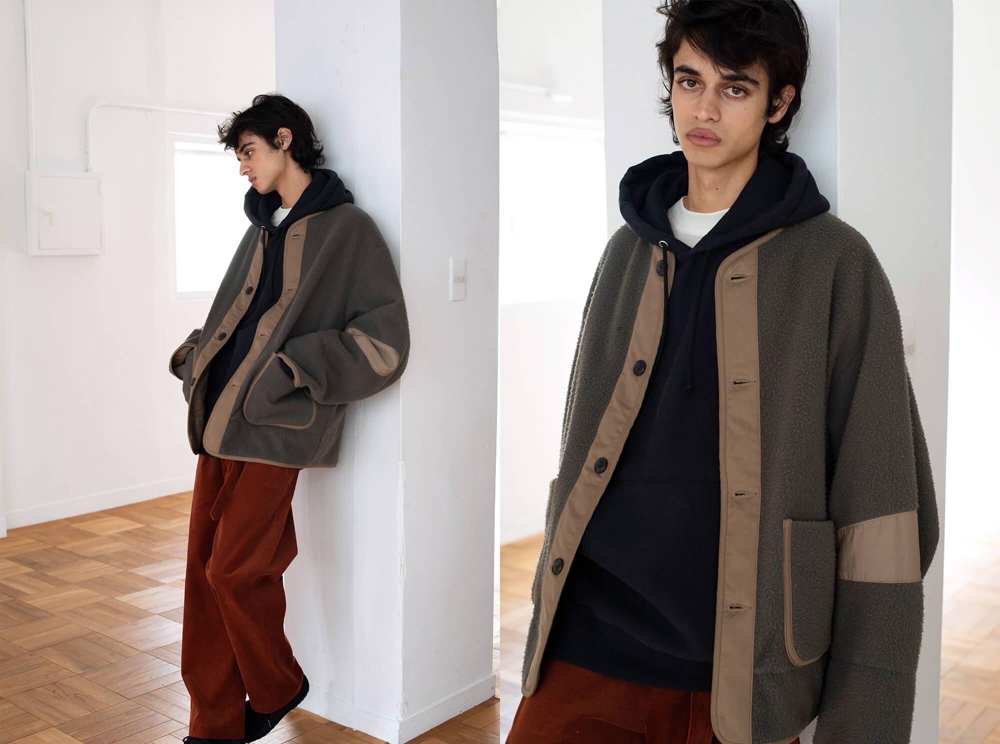 napped wool melton liner jacket