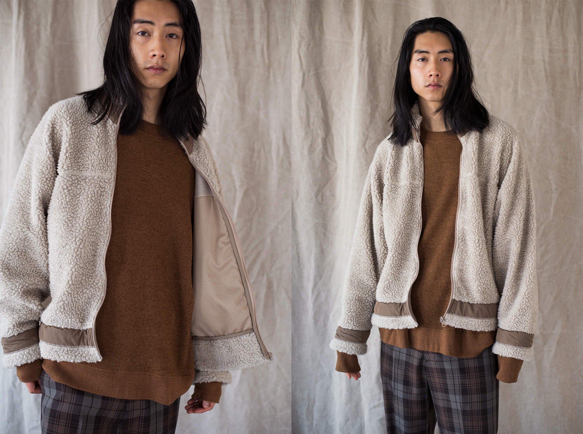 wool pile boa fleece full zip jacket