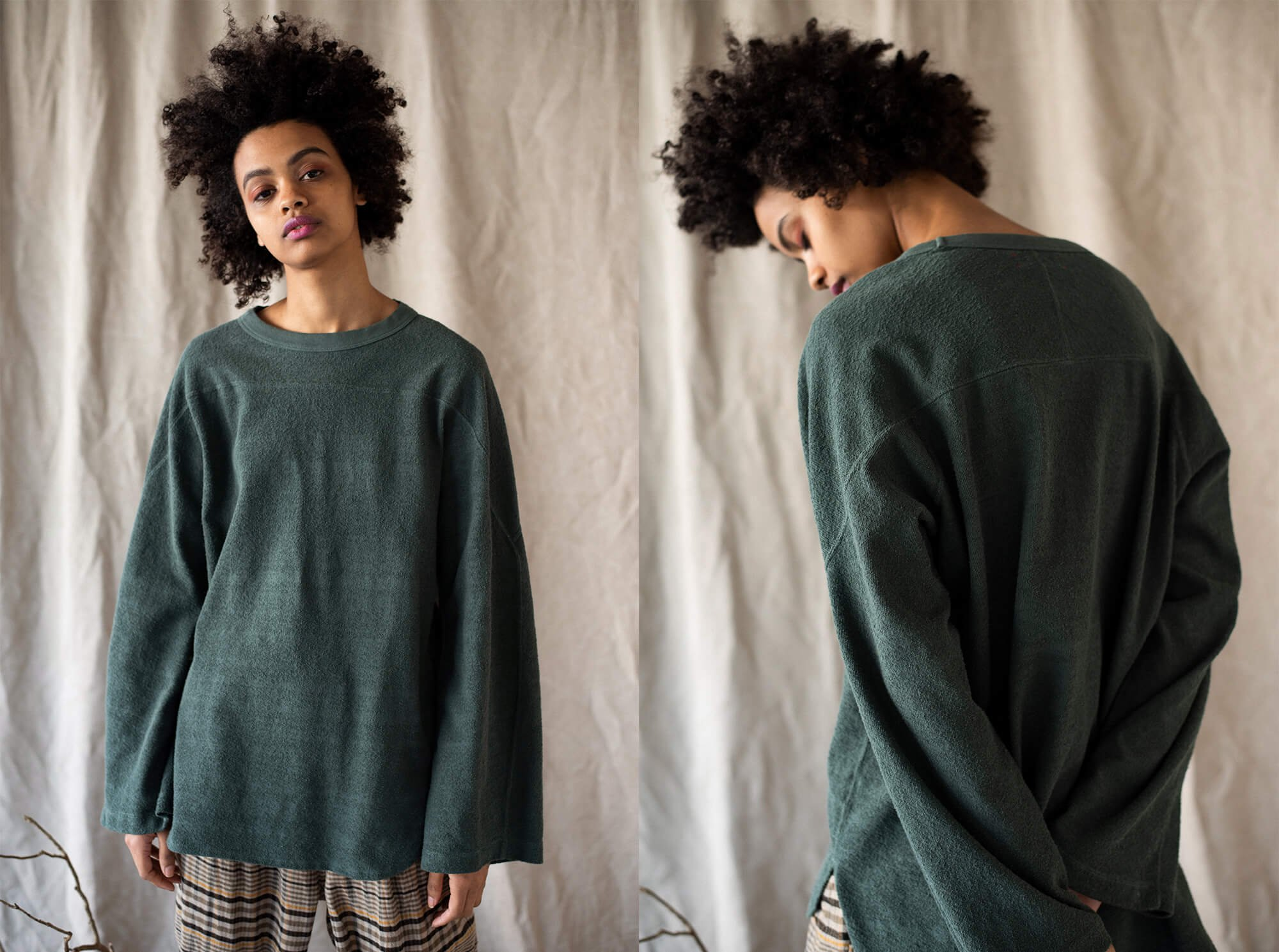 vintage cotton-pile long sleeve Tee
