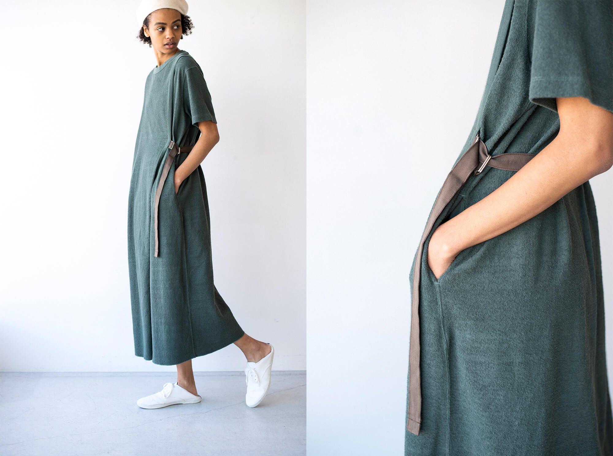 vintage cotton-pile belted T-shirt dress