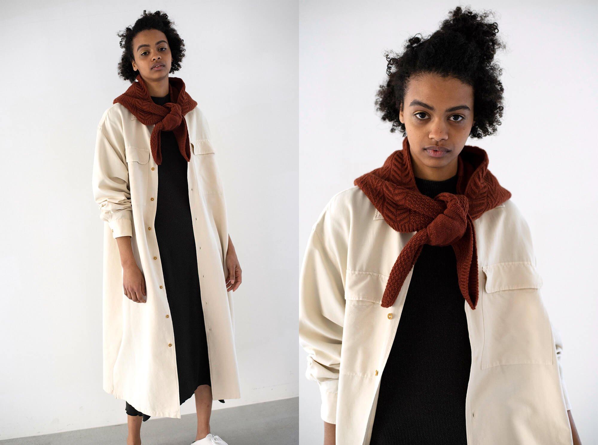 silk & cotton twill open collar shirt dress