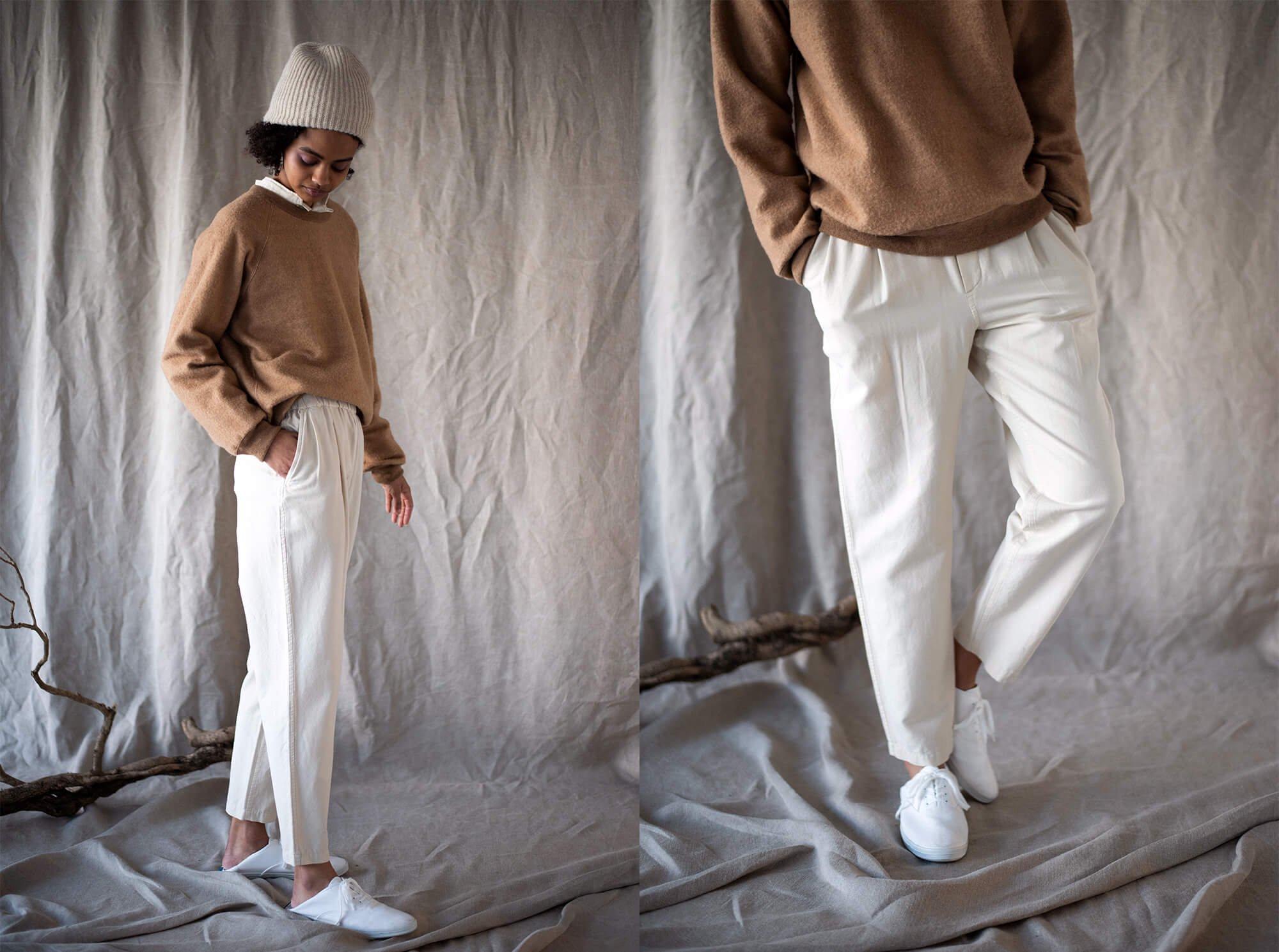 silk & cotton twill trousers