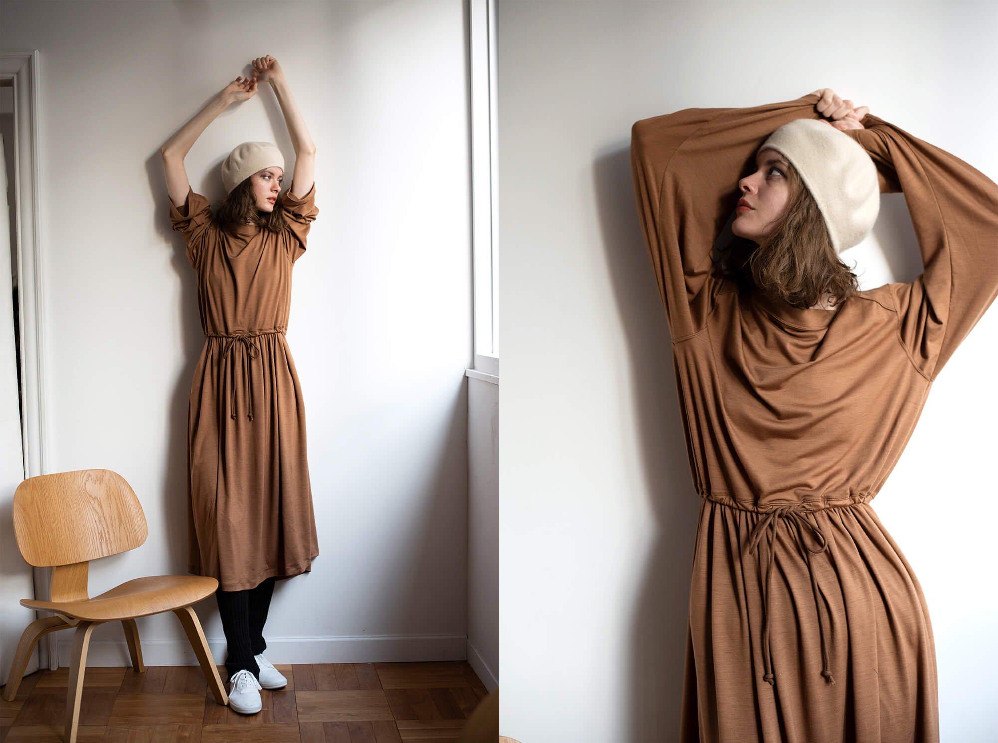 superfine merino-jersey gathered dress