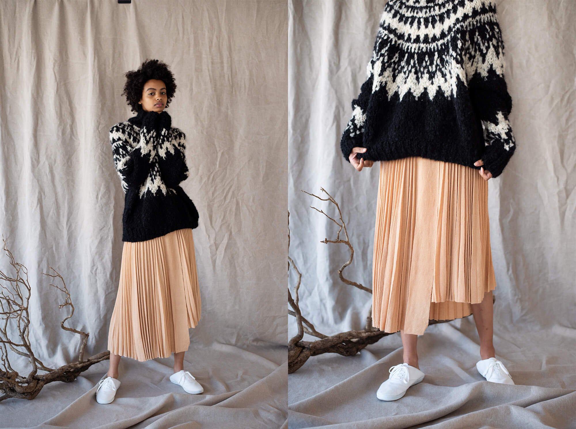 extrakid mohair pleated knit skirt