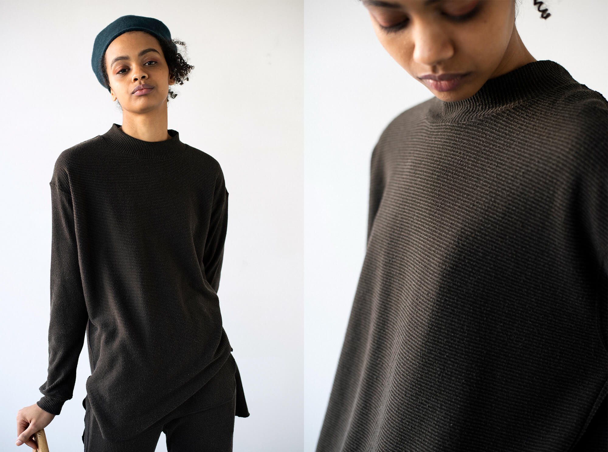 raw silk ribbed-jersey mock neck Tee