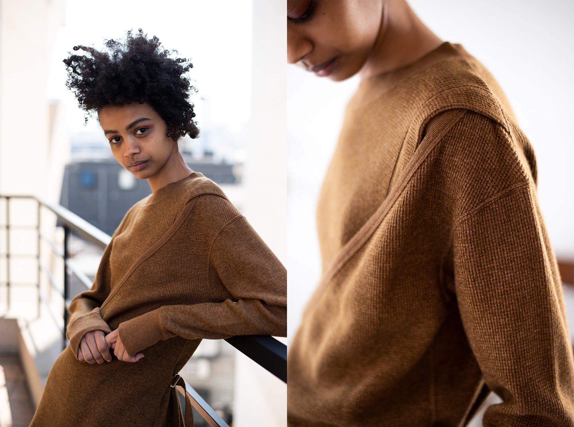 wool & cotton waffle belted pullover