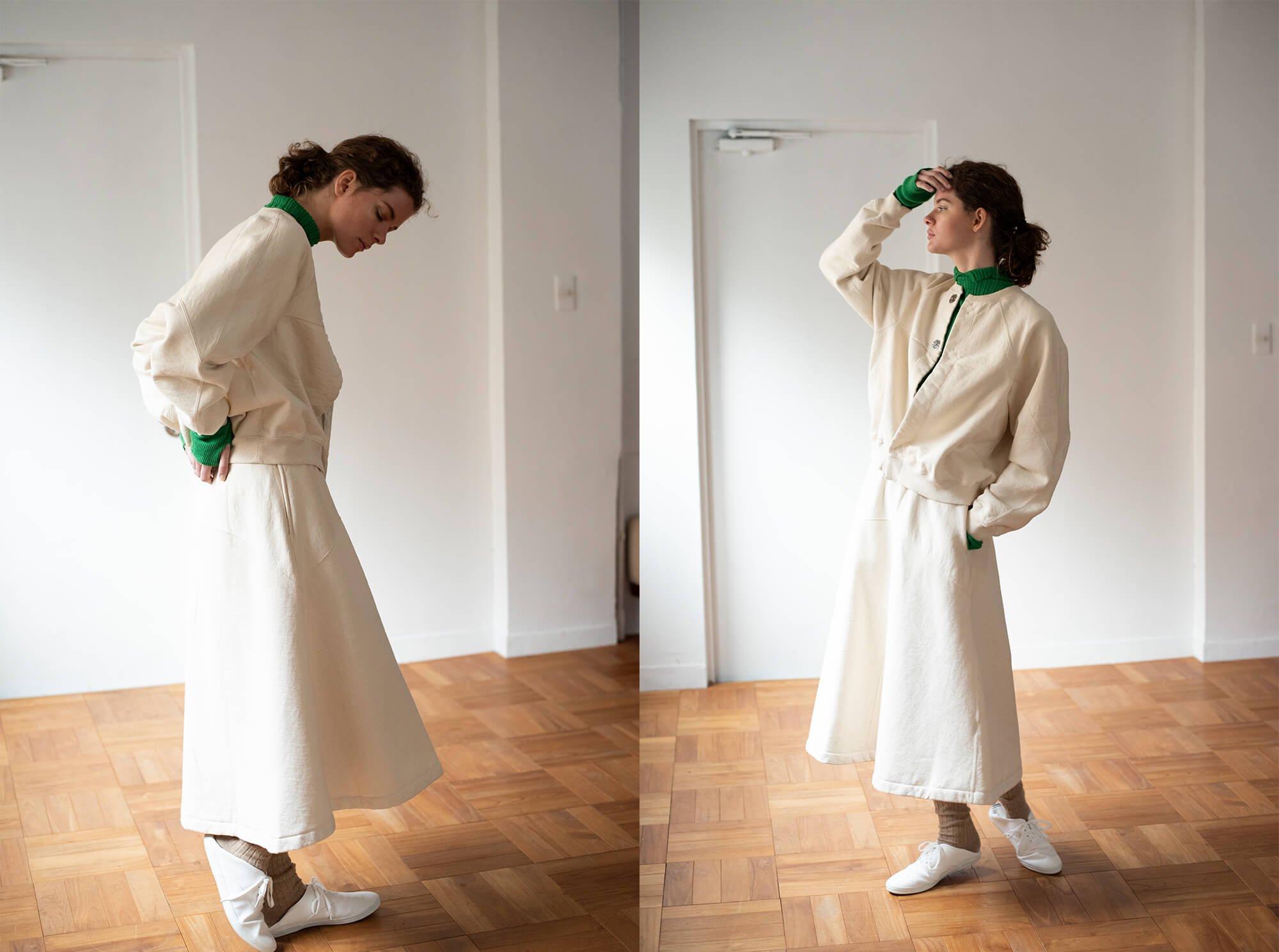vintage cotton-fleece flared skirt