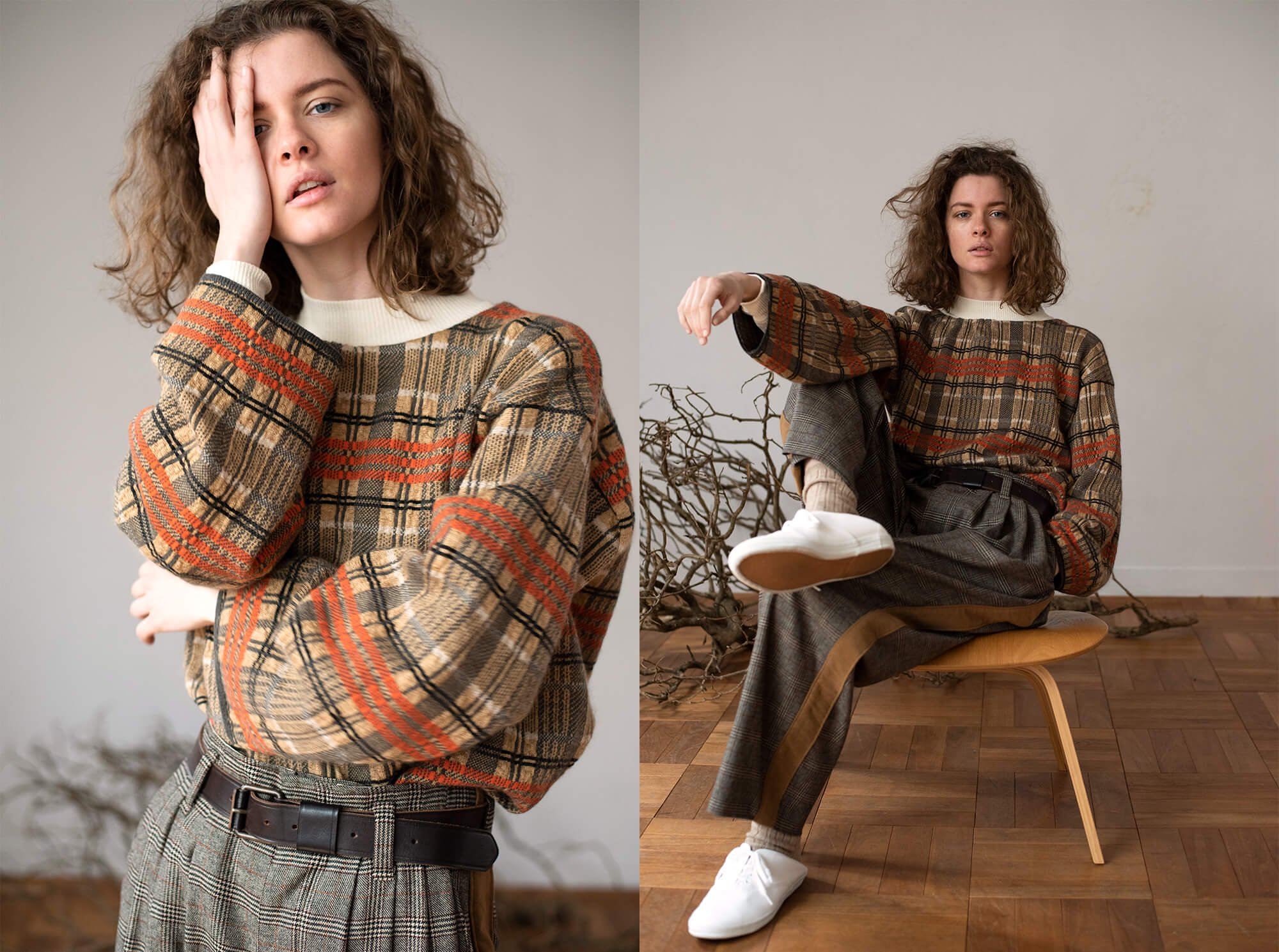 checked jacquard mohair silk blend sweater