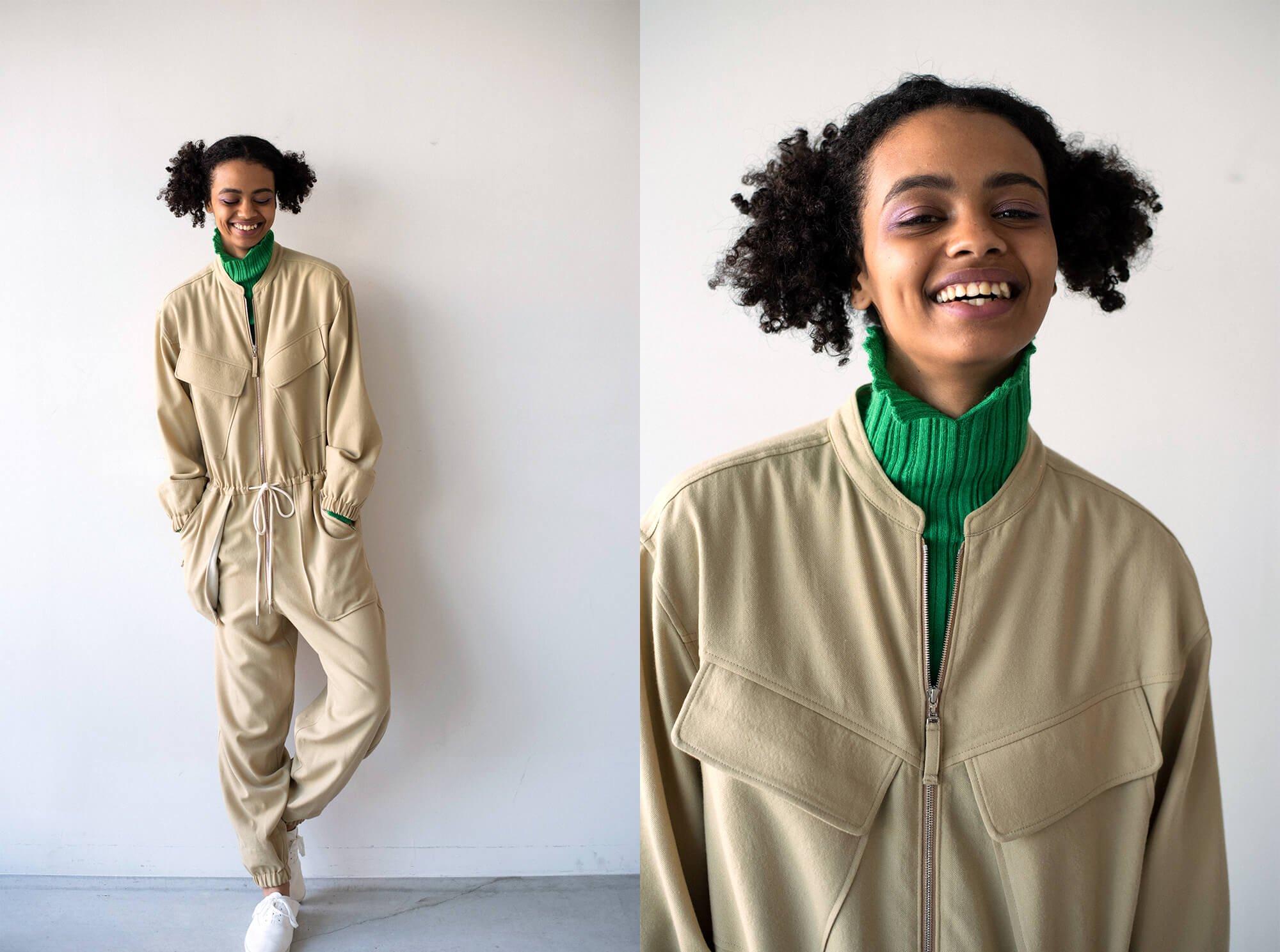 wool-gabardine zip front jumpsuit